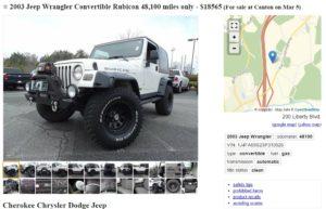 Craigslist vehicle listing