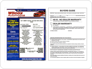FTC Buyers Guides, Window Labels and Vehicle Hang Tags