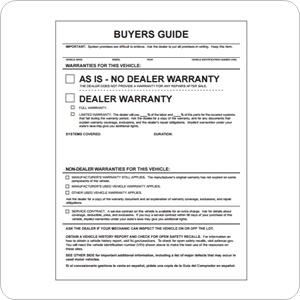 FTC Buyers Guide Window Label